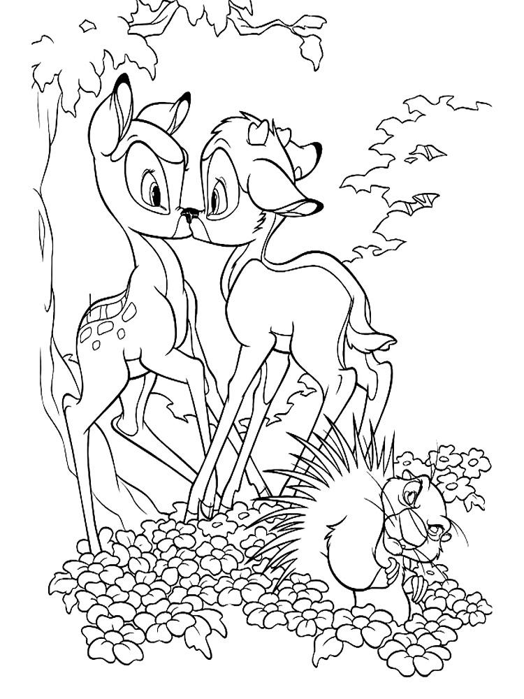 Раскраска олененка бэмби