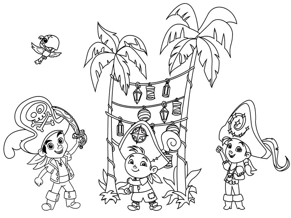веселые детские раскраски джейк и пираты нетландии