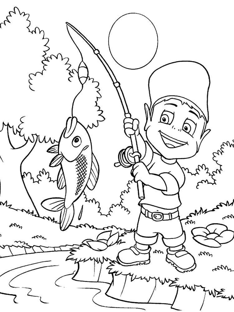 Раскраска рыбалка с папой