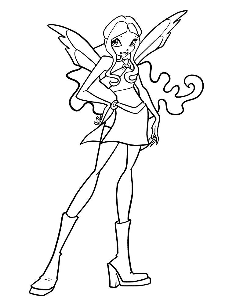 Флора из Winx одетая в красивый топик и юбку