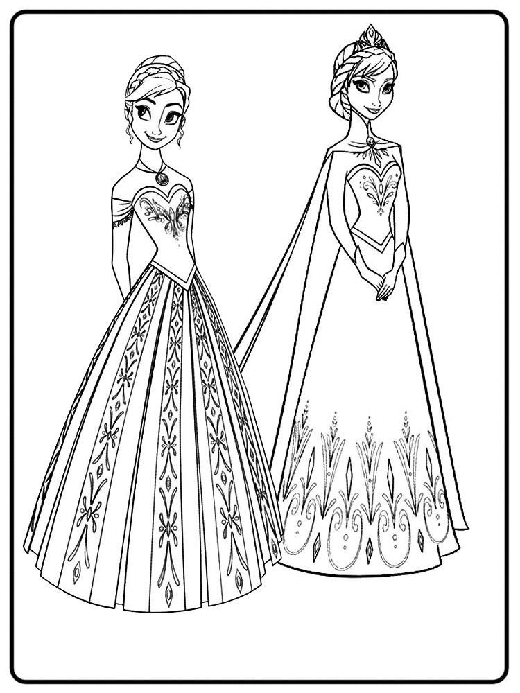 Раскраска для девочек эльза и анна распечатать - 9