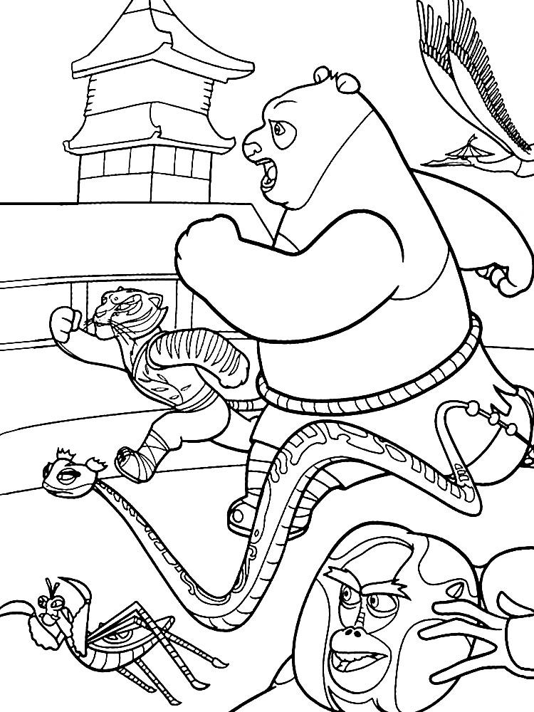 Интересные и красивые раскраски с Кунг-фу Панда для ...
