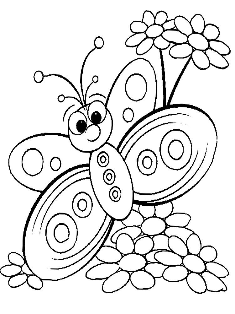 Распечатать раскраски для девочек цветы и бабочки