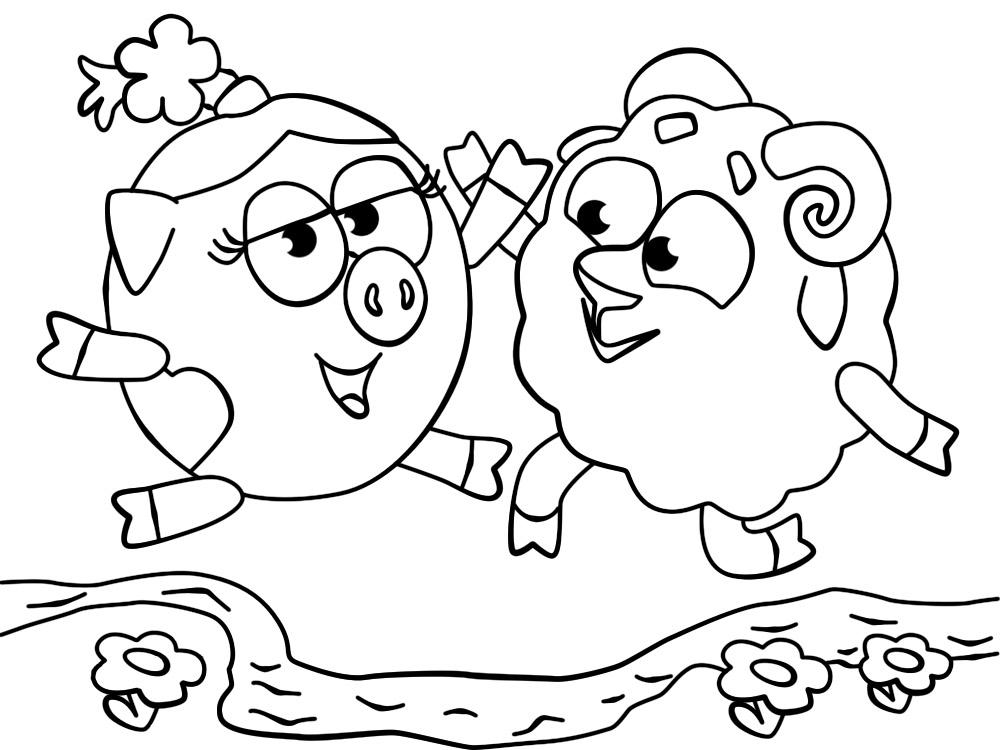 раскраски для мальчиков и девочек с барашем из смешариков